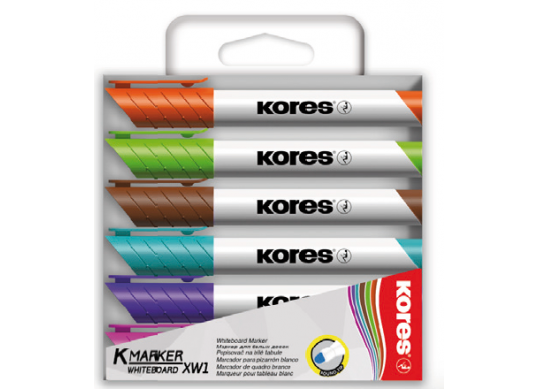 Marker Whiteboard Kores Set (3mm/virf rotund/6cul) K20802